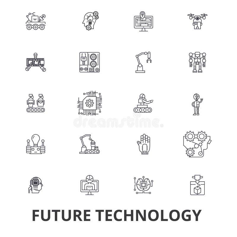 Zukünftige Technologie, zukünftige Vision, futuristisch, Geschäft, Roboter, Cyborg, Steuerleitungsikonen Editable Anschläge Flach vektor abbildung