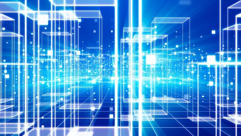 Zukünftige virtuelle Stadt mit Celeste Cubes lizenzfreie abbildung