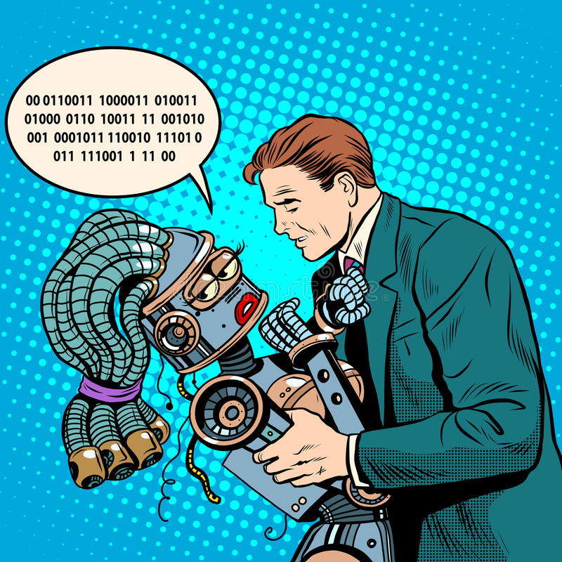 Zukünftige Zukunftsromane ein paar Leute und der Roboter stock abbildung