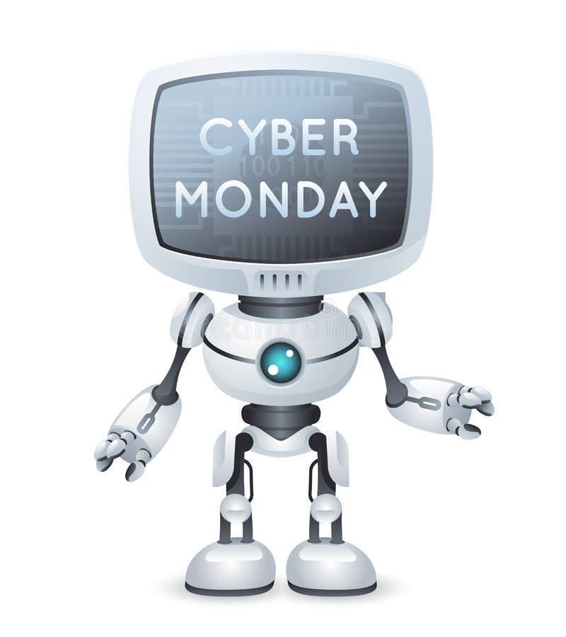 Zukünftiger netter kleiner Vektor des Designs 3d der Verkauf Cybermontag-Schirmmonitorkopfrobotertextplakattechnologie-Zukunftsro stock abbildung