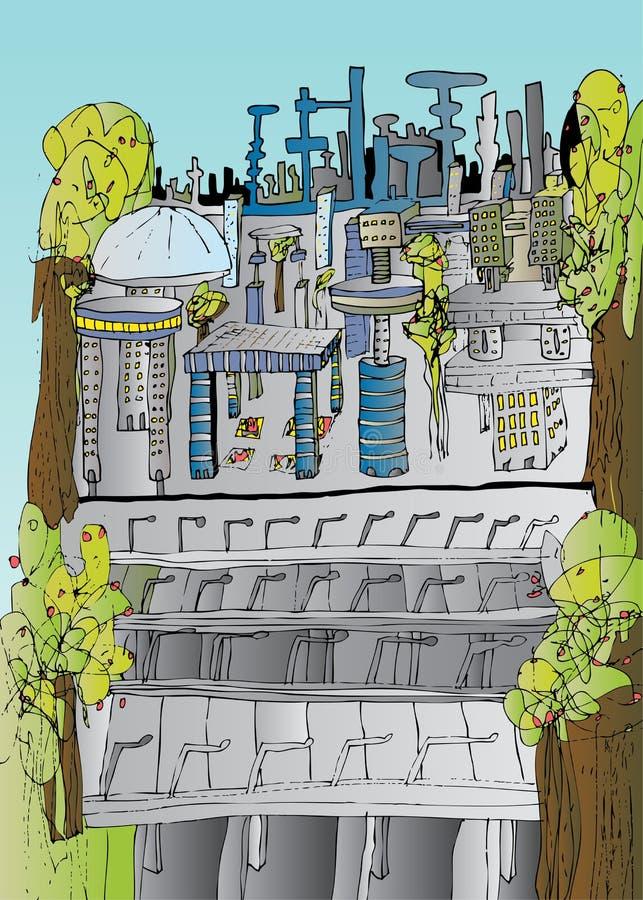 Zukünftiger Stadt-Eindruck vektor abbildung