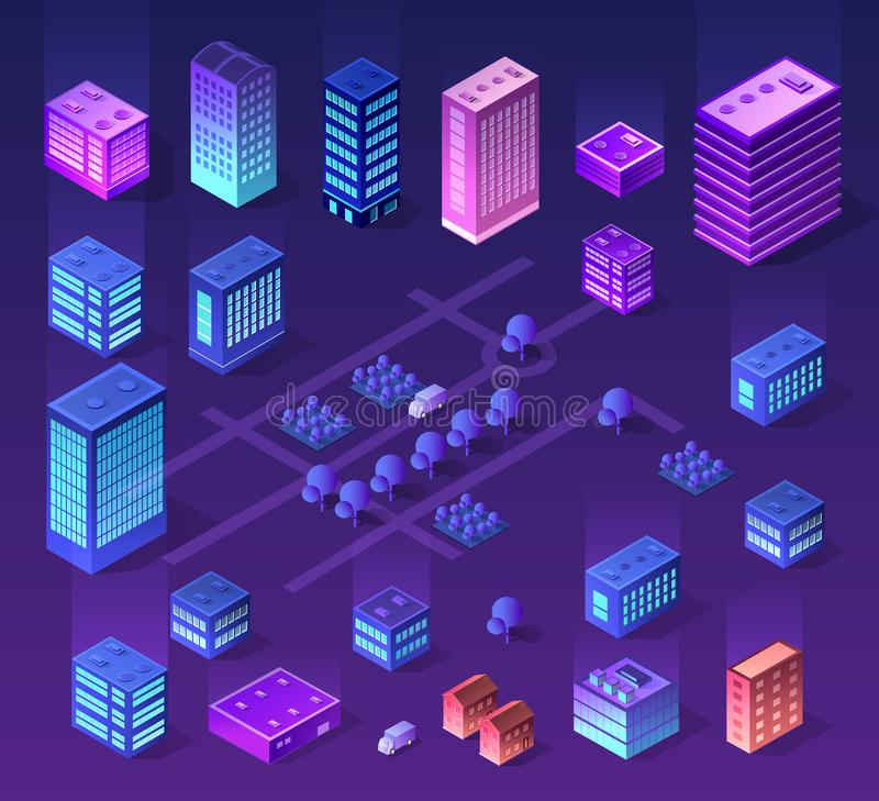 Zukünftiges futuristisches isometrisches 3d stock abbildung