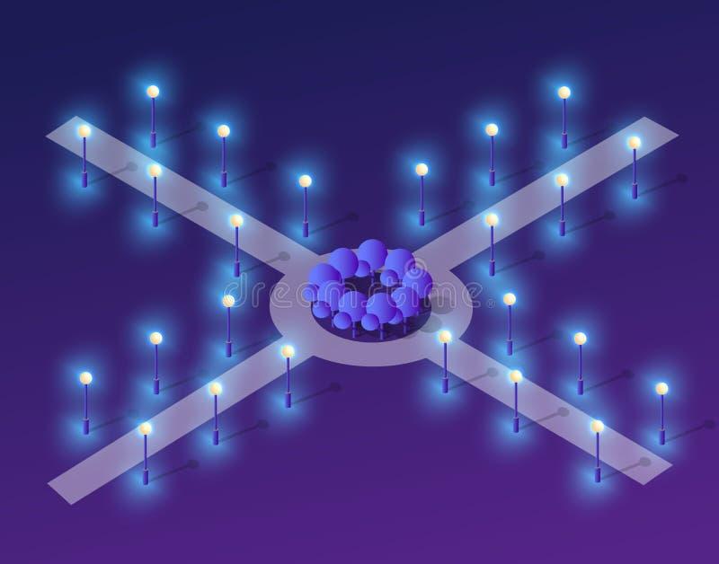 Zukünftiges futuristisches isometrisches 3d vektor abbildung