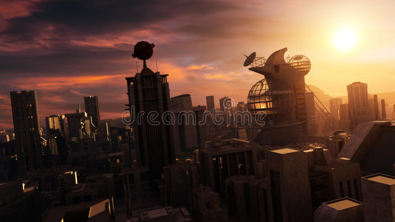Zukunftsroman-Stadtbild-Sonnenuntergang vektor abbildung