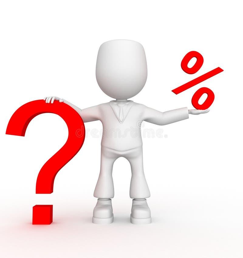Zulke zijn grotere vragen onder kleine percenten. royalty-vrije illustratie