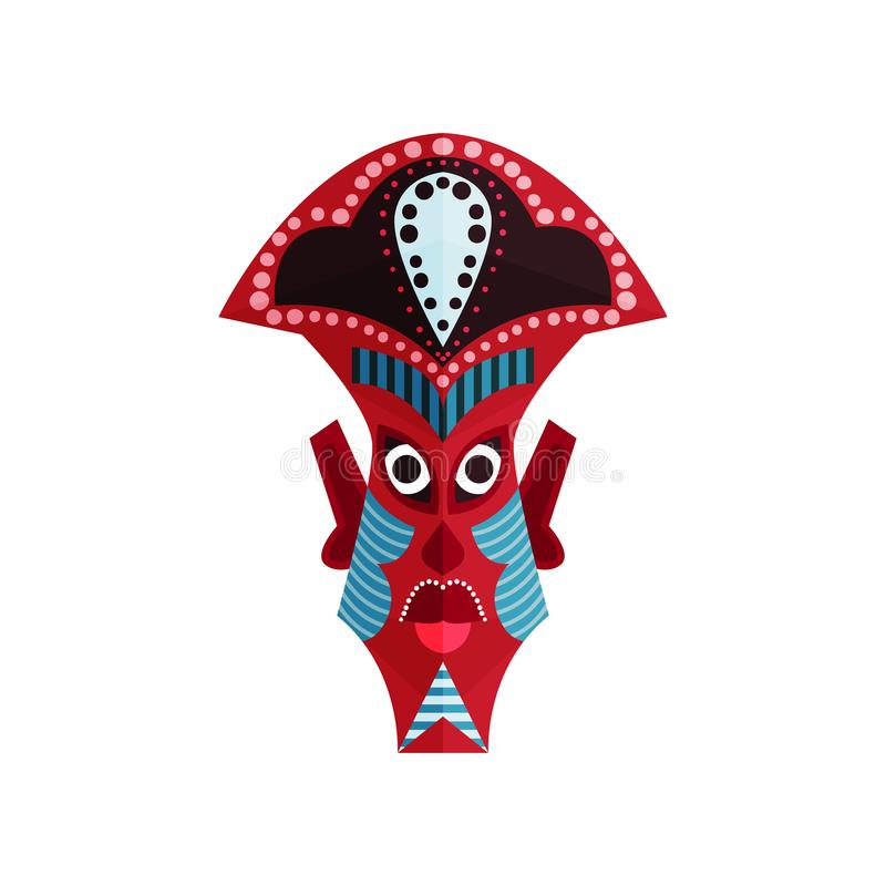 Zulu maska z tradycyjnym ornamentem Tubylcza etniczna kultura Obrządkowy atrybut miejscowi Afrykańscy ludzie mieszkanie royalty ilustracja