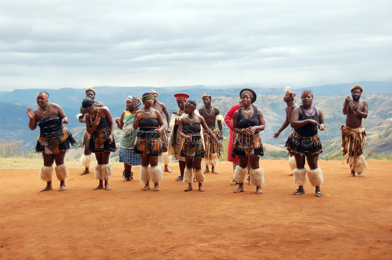 Zulu tribal dance. Zulu dancers performing tribal dance in the mountains
