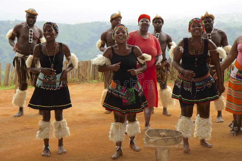 Zulu tribal dance in South Africa royalty free stock photo