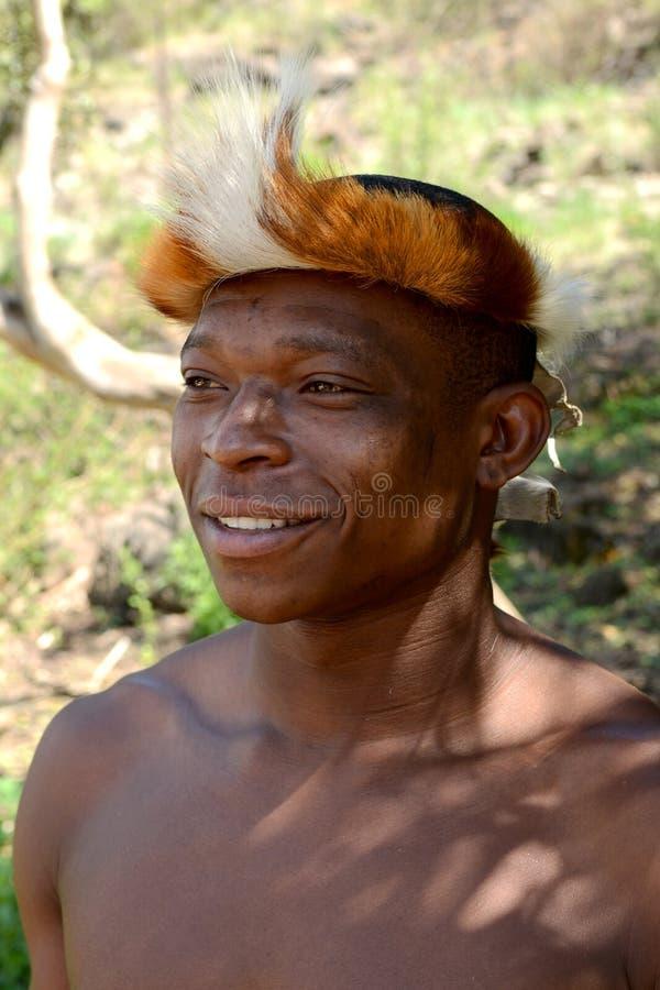 Zulu Warrior portrait. stock photos