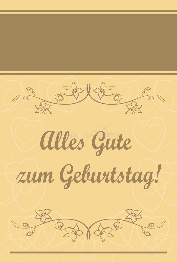 Zum Geburtstag - feliz cumpleaños del gute de Alles - greeti beige del vector stock de ilustración