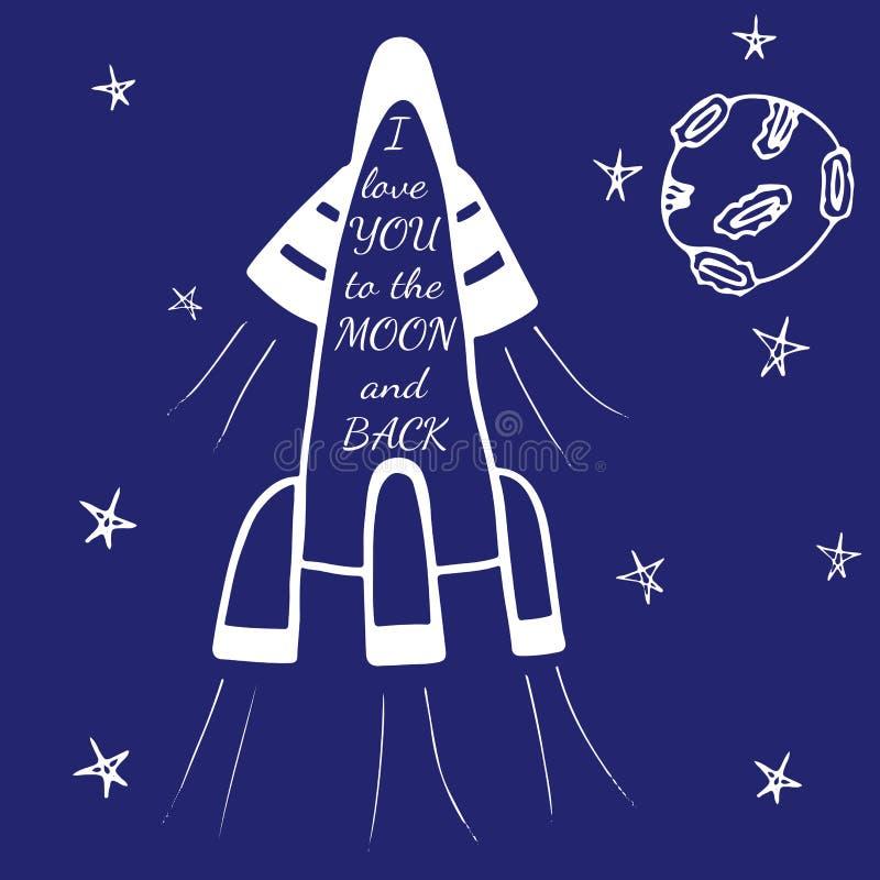 Zum Mond und zur Rückseite in einer Rakete mit Mond ich liebe dich beschriften lizenzfreie abbildung