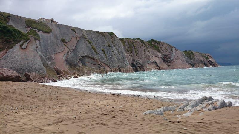 Zumaia-Strand, Spanien lizenzfreie stockfotos
