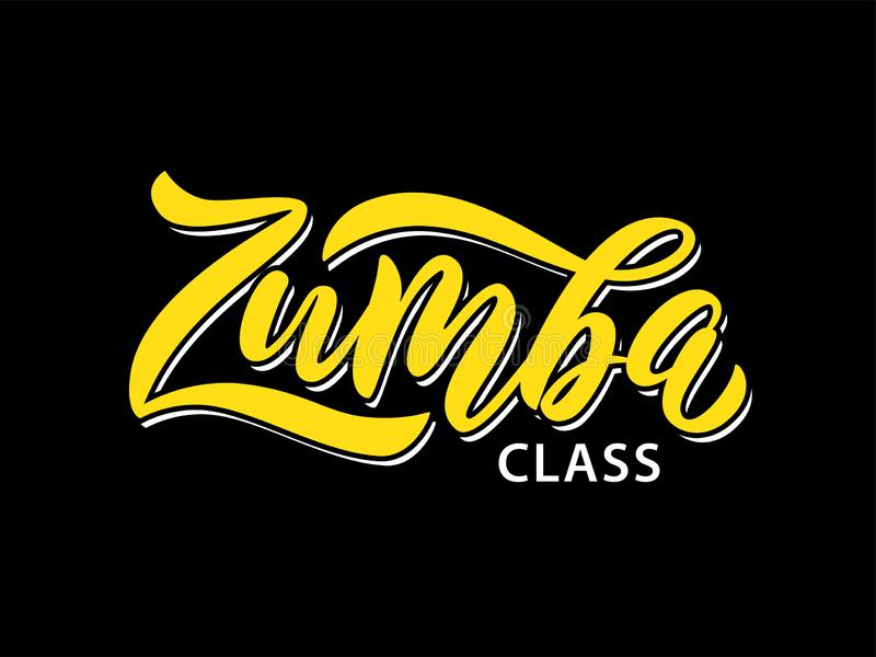 Zumba class fitness text. Calligraphy word banner design. Aerobic fitness. Vector Illustration. Zumba class fitness text. Calligraphy word banner design. Aerobic royalty free illustration