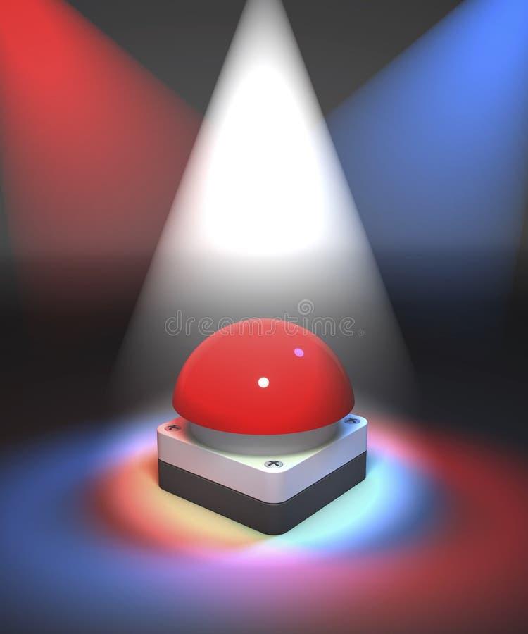 Zumbador rojo del gameshow en proyector colorido ilustración del vector
