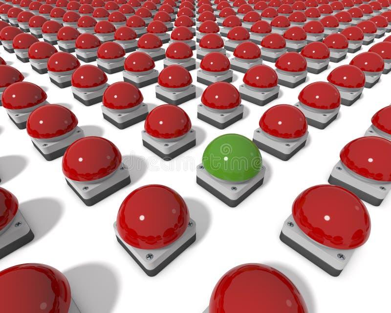 Zumbadores rojos de Gameshow con el zumbador verde de centro libre illustration