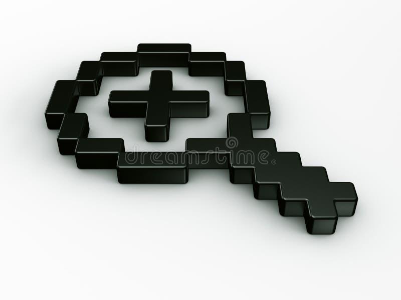 Zumbe dentro o cursor do rato em 3d ilustração do vetor