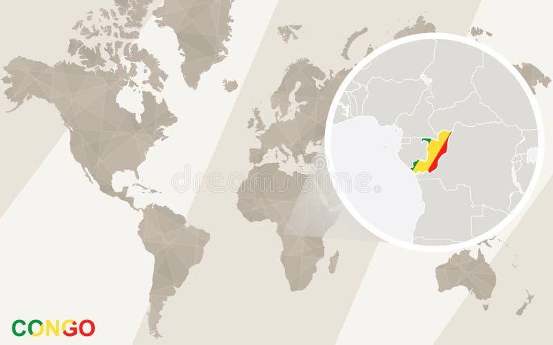 Zumbido no mapa e na bandeira de Congo Mapa de mundo ilustração stock