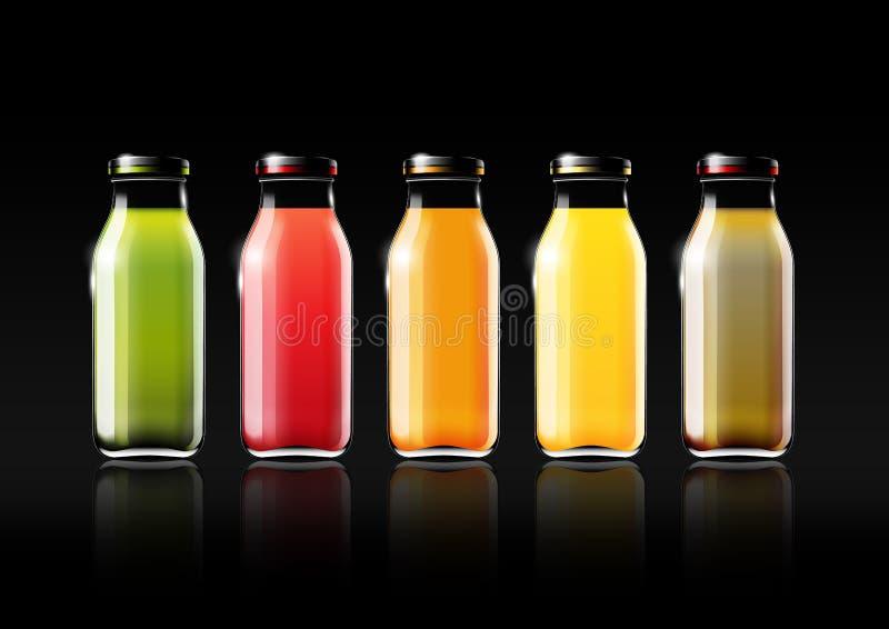Zumo de fruta en una botella de cristal para el anuncio y el logotipo del vintage, fruta, transparente, vector del diseño ilustración del vector