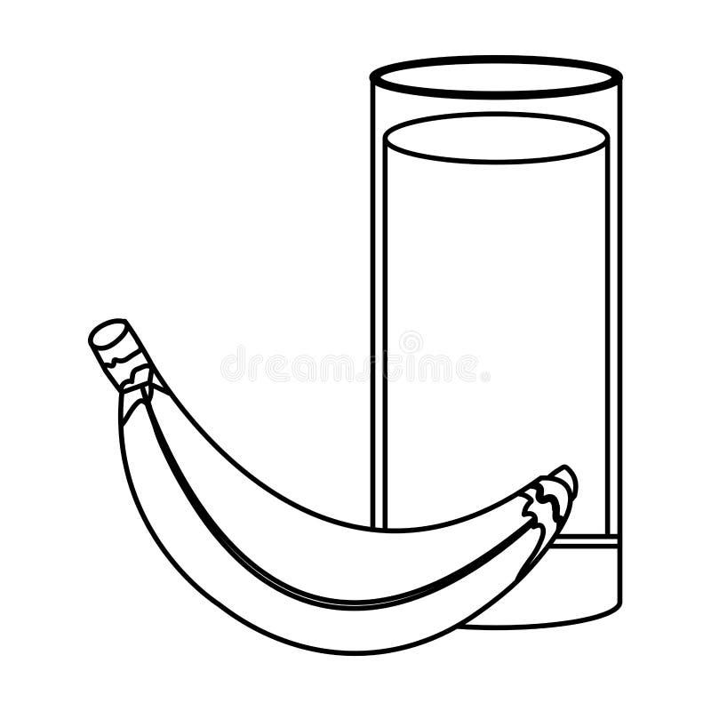 Zumo de fruta fresca del plátano stock de ilustración