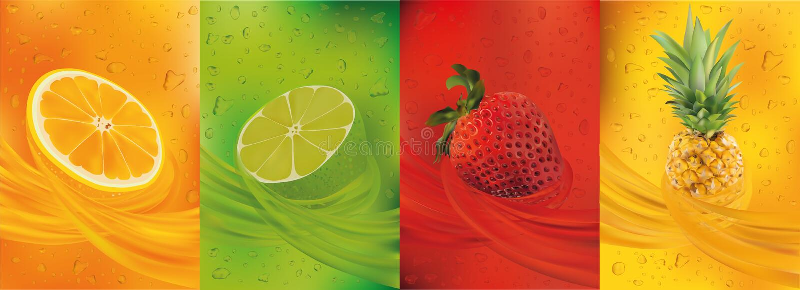 Zumo de fruta, pi?a, cal, naranja, fresa frutas frescas 3d La fruta salpica cercano para arriba Ilustraci?n del vector stock de ilustración
