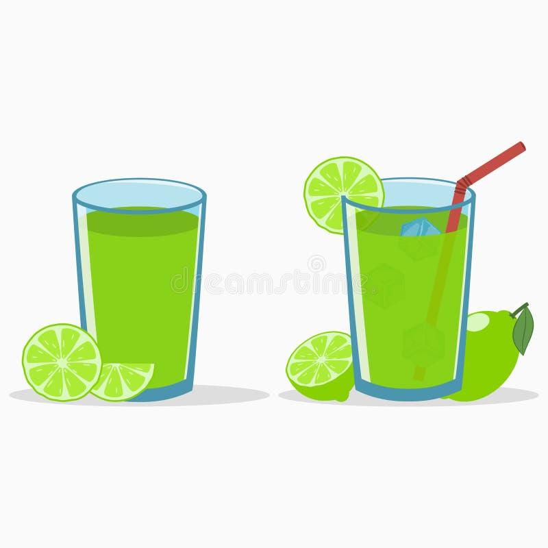 Zumo de lima en un vidrio con la rebanada de la cal y medio Bebida fresca natural de la fruta cítrica con el cubo de la paja y de libre illustration