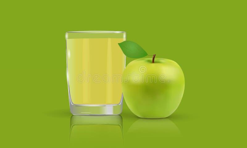 Zumo de manzana fresco en una manzana de cristal, verde foto de archivo