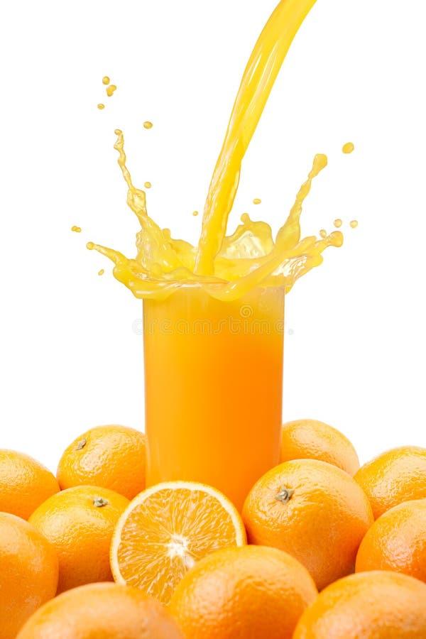 Zumo de naranja de colada fotografía de archivo libre de regalías