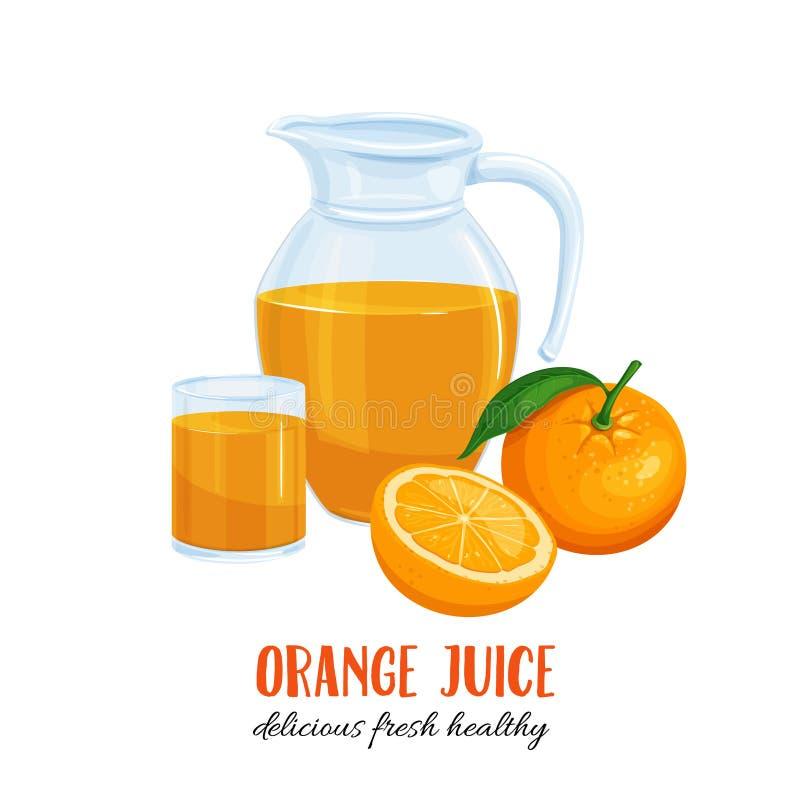 Zumo de naranja en un jarro y un vidrio ilustración del vector