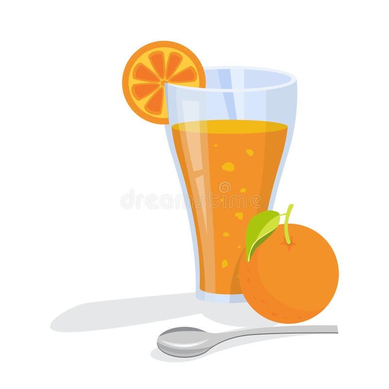 Zumo de naranja fresco Bebida sana de la fruta cítrica en vidrio stock de ilustración