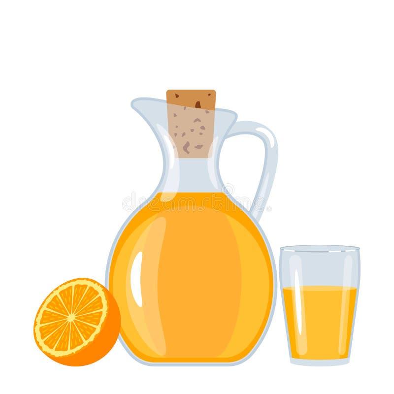 Zumo de naranja fresco en un jarro y un vidrio con la naranja ilusión vectorial plana aislada stock de ilustración
