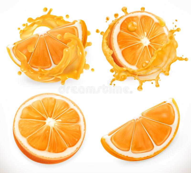 Zumo de naranja La fruta fresca y salpica Sistema del icono del vector stock de ilustración