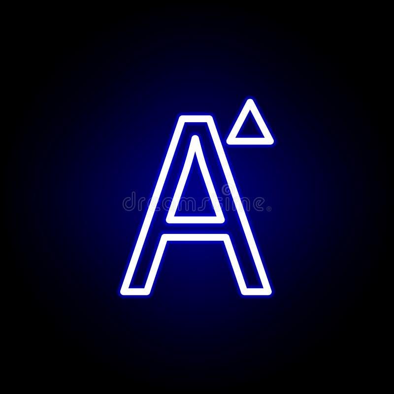 Zunahmegussgröße, Ikone des Wortes A in der Neonart Kann f?r Netz, Logo, mobiler App, UI, UX verwendet werden vektor abbildung