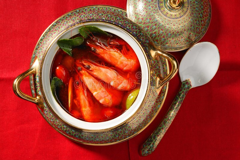 zupa z krewetek pikantne thai fotografia stock