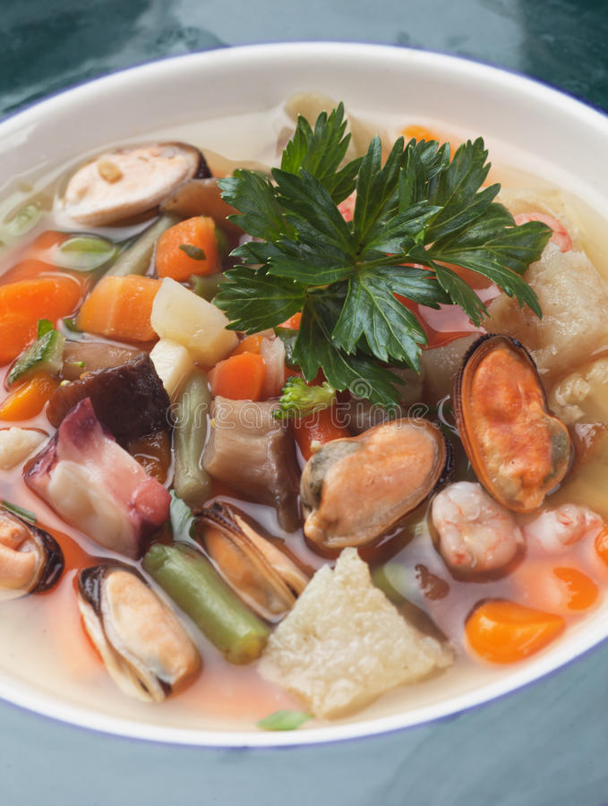 zupa z owoców morza zdjęcie stock