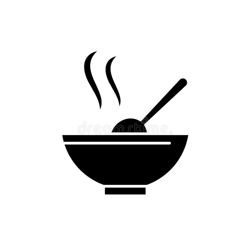 Zupna czarna ikona, wektoru znak na odosobnionym tle Zupny pojęcie symbol, ilustracja ilustracji