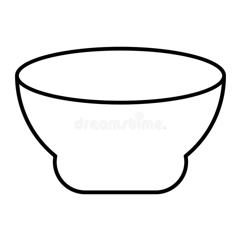 Zupnego talerza cienka kreskowa ikona Puchar wektorowa ilustracja odizolowywająca na bielu Głęboki półkowy konturu stylu projekt, ilustracji
