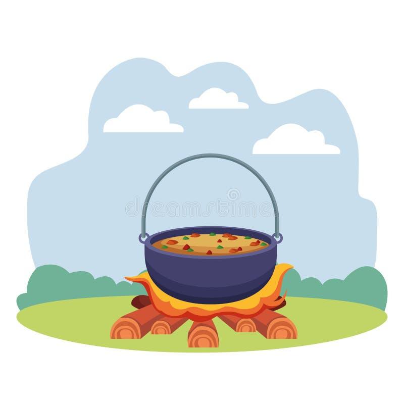 Zupny kucharstwo w ogniska campingowym jedzeniu ilustracji