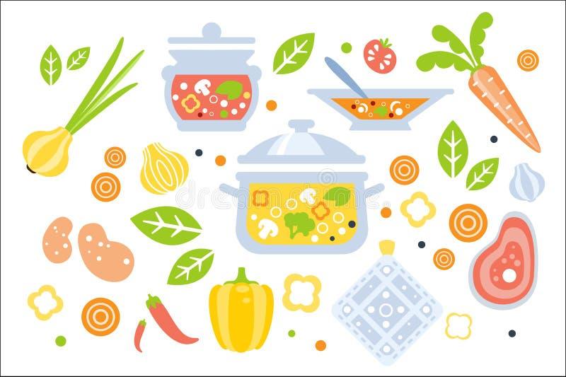 Zupny przygotowanie Ustawiający składniki Ilustracyjni Płaska Pierwotna grafika stylu kolekcja Kulinarne rzeczy I royalty ilustracja