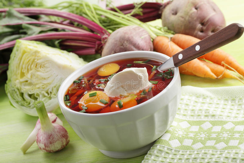 Zuppa di barbabietole russa con le verdure fotografia stock