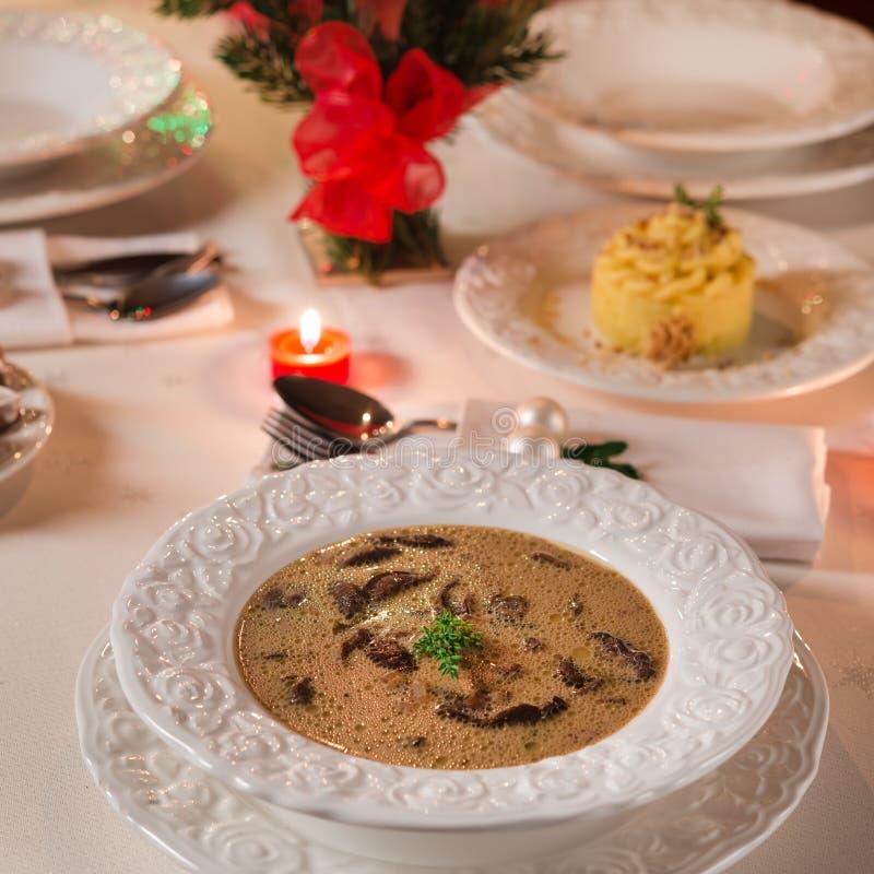 Zuppa di fungo di Natale immagini stock
