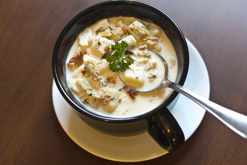 Zuppa di molluschi e latte della Nuova Inghilterra fotografie stock