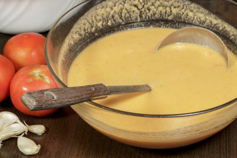 Zuppa di verdure fredda andalusa, uno degli esponenti principali di gastronomie spagnola immagini stock libere da diritti