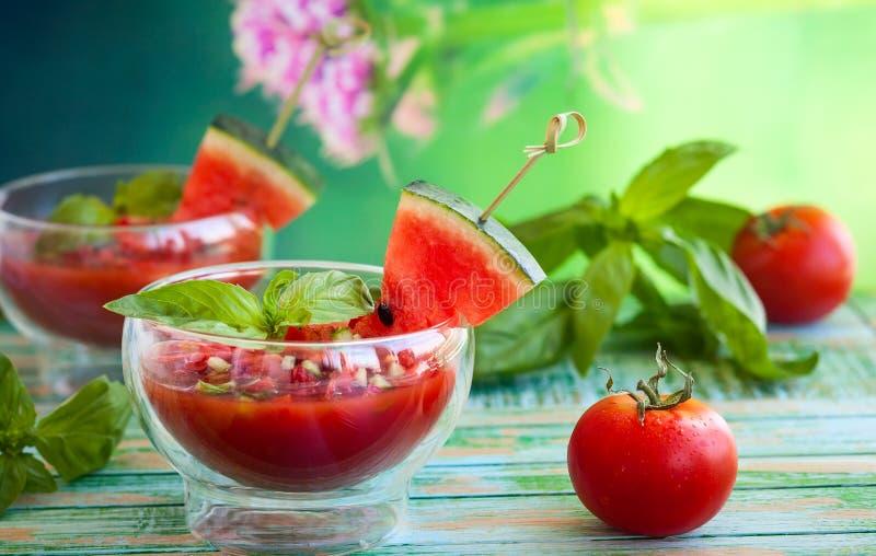 Zuppa di verdure fredda del pomodoro dell'anguria fotografia stock libera da diritti