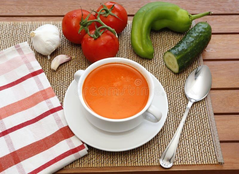 Zuppa di verdure fredda ed i suoi ingredienti immagini stock