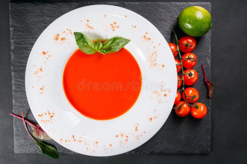 Zuppa di verdure fredda spagnola fredda tradizionale della minestra del pomodoro fotografia stock libera da diritti