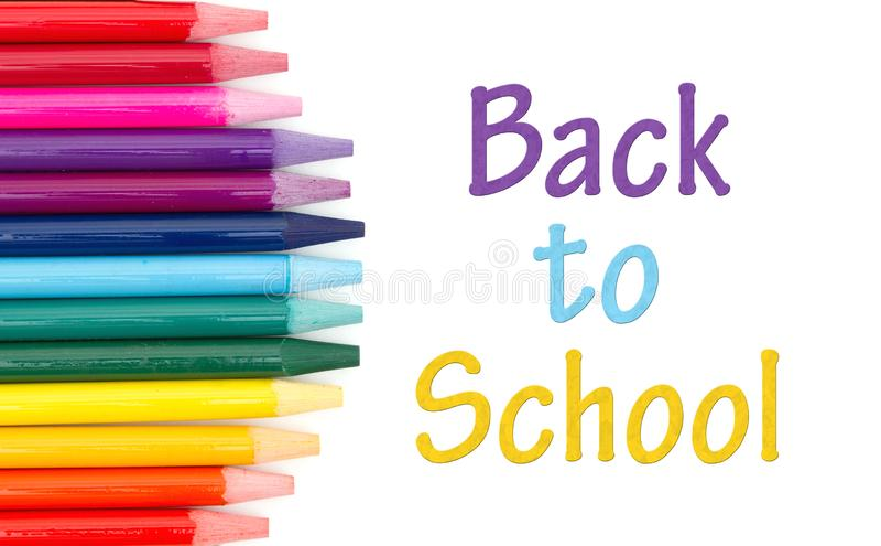 _zurück zu Schule Mitteilung mit färben Aquarell Bleistift stockbilder