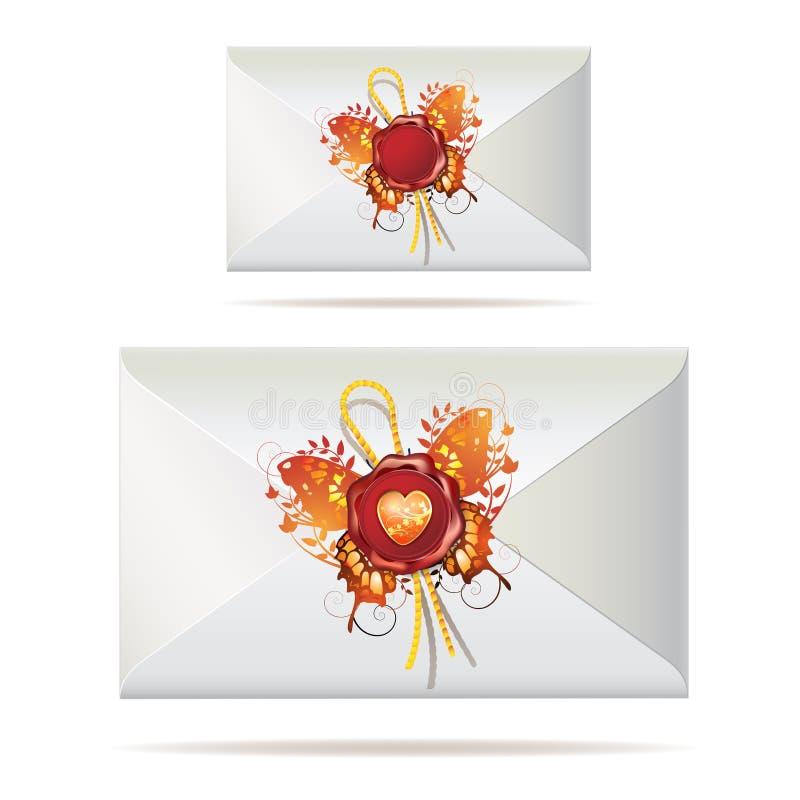 Zurück vom Umschlag mit Dichtung lizenzfreie abbildung