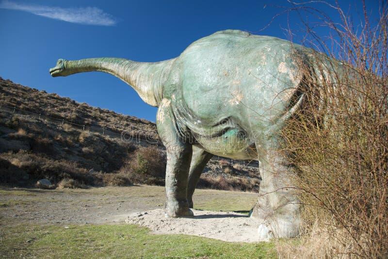 Zurück von der großen Puppe des Dinosauriers lizenzfreies stockbild