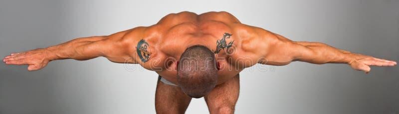 Zurück von einem muskulösen Mann stockfotografie
