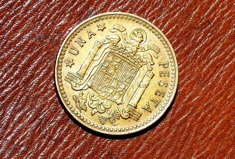 Zurück von 1 Peseta, spanische Währung des Jahres 1966 lizenzfreie stockbilder